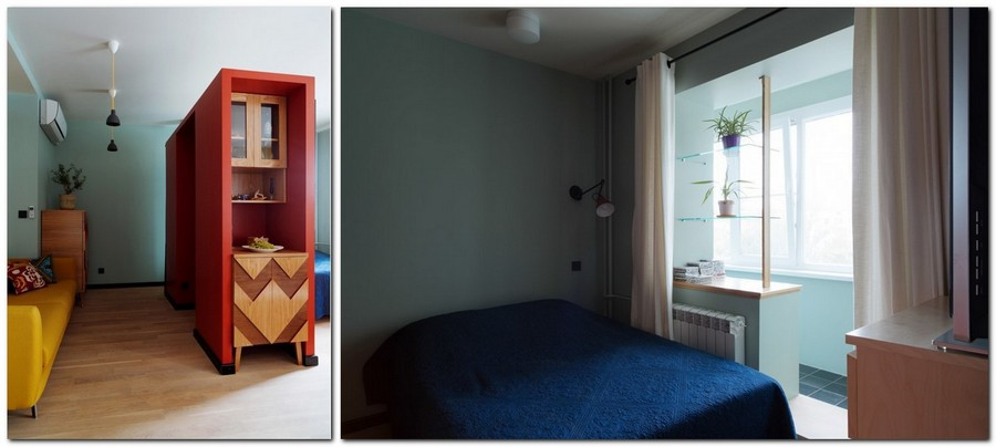1-2-bachelor's-interior-design-open-concept-bedroom-lounge-living-room-light-blue-walls-yellow-sofa-red-accents-plasterboard-structure-decorative-cupboard-geometrical-pattern-balcony-exit
