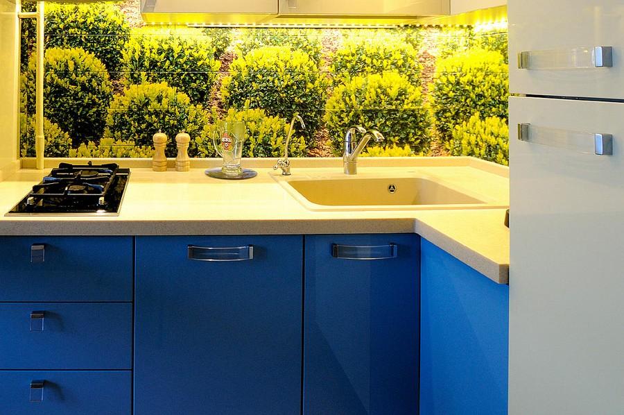 1-2-beautiful-creative-kitchen-backsplash-ideas-digital-photo-printing-greenery-summer-mood-blue-cabinets-square-tiles-interior-design
