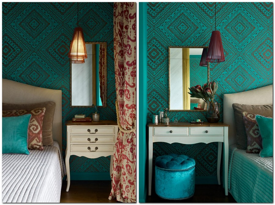 1-2-neo-classical-style-bedroom-interior-with-ethnic-motifs-Central-Asian-Uzbek-Portuguese-dark-colors-blue-red-purple-bright-turquoise-wallpaper-beige-bed-dressing-table-nightstand-bedside-mirror-pendant-lamps