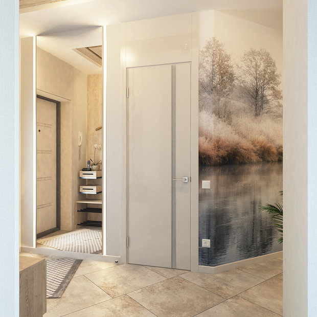 1-3-contemporary-style-interior-design-in-white-beige-gray-neutral-colors-entrance-hall-hallway-full-length-mirror-naturalistic-wall-mural