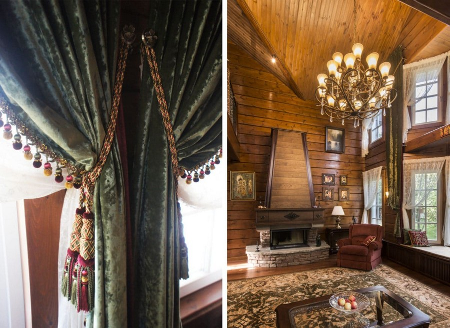 1-8-log-timber-wooden-house-interior-design-walls-sloped-ceiling-big-panoramic-windows-overdrapery-drapery-sheer-curtains-gallery-open-to-below-second-floor-floral-sofa-green-pink-brown-living-room-lounge-cord-tieback