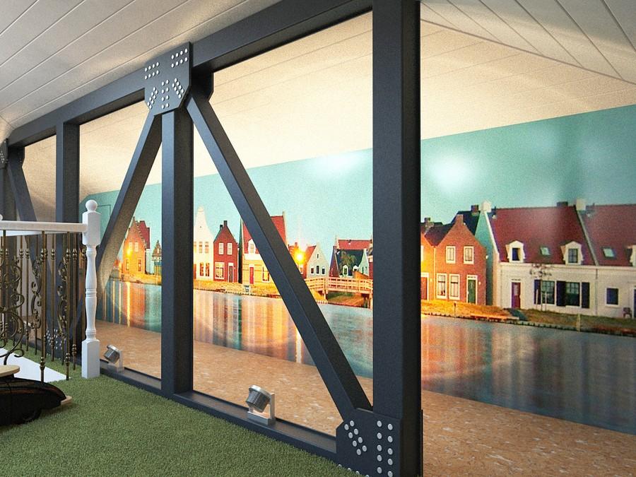 1-attic-floor-toddler-kids-room-playroom-game-room-interior-design-green-shaggy-carpet-stereo-vario-wall-mural