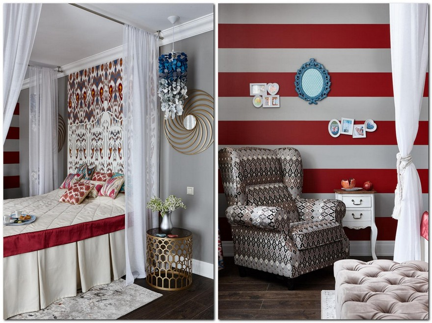 1-contemporary-style-bedroom-interior-design-with-oriental-Central-Asian-Uzbek-motifs-canopy-bed-ikat-pattern-wallpaper-white-red-gray-blue-accents-pomegranate-stripy-wall-carved-headboard-felt-lamp