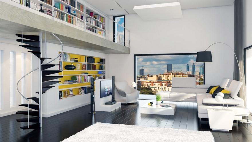 1-innovative-smart-home-technologies-2017-interior-design-contemporary-living-room-panoramic-window-city-view-light-gray-modular-sofa-floor-lamp-winding-staircase-mezzanine-home-library