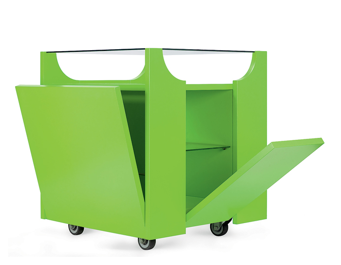 1-serving-trolley-green-four-wooden-flaps-glass-top-shelves-three-tier-Cubovo-model-by-Porro