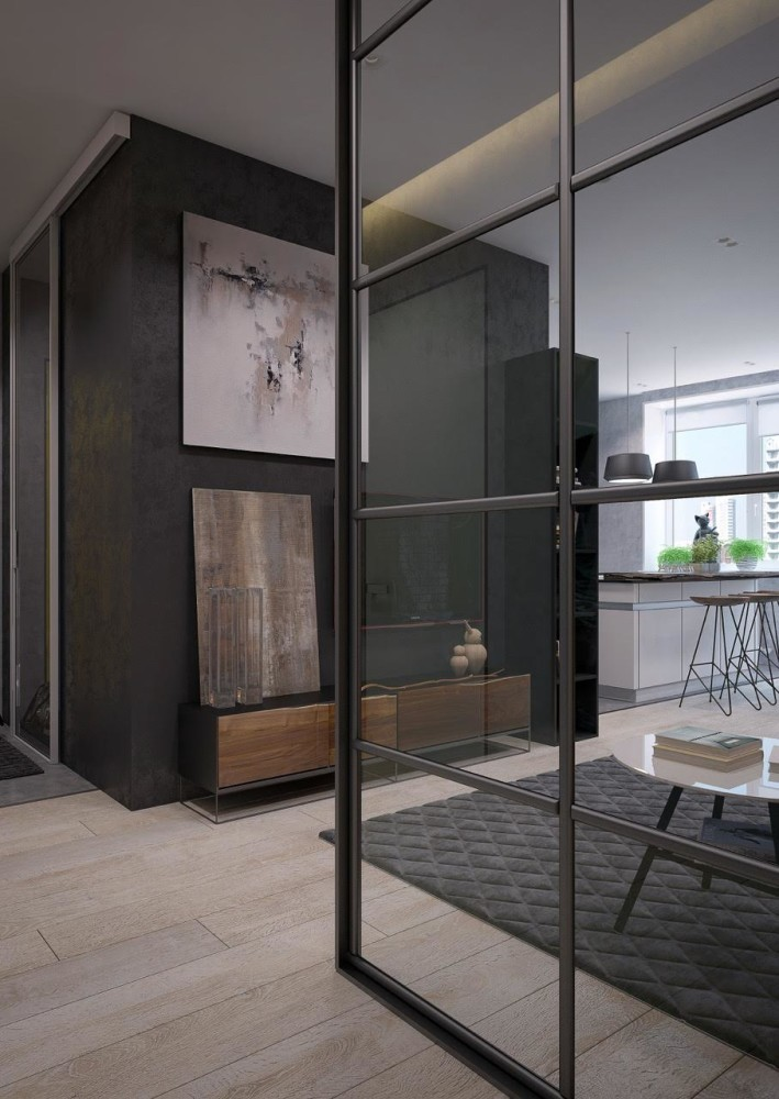 2-1-brutal-contemporary-style-living-room-lounge-interior-design-light-floor-gray-concrete-walls-minimalism-glass-wall-TV-stand-white-kitchen-island-rug