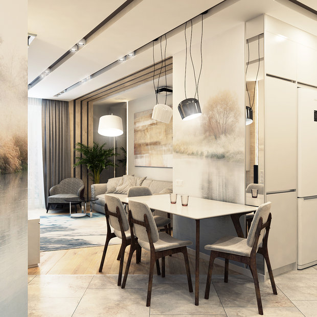 2-1-contemporary-style-interior-design-in-white-beige-gray-neutral-colors-open-concept-living-dining-room-kitchen-naturalistic-wall-mural-table-chairs-sofa