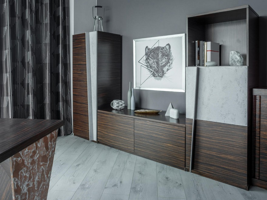 2-1-contemporary-style-office-interior-design-beige-gray-brown-brutal-mixed-material-concrete-and-zebrawood-wooden-furniture-panoramic-window-desk-curtains-cabinet