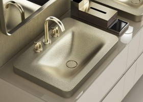 2-1-new-Baa-collection-2017-by-Roca-bathroom-design-by-Giorgio-Armani-luxurious-premium-wash-basins-soap-dispenser-greige-shagreen-texture-matte-gold-mixer-taps-mirrors-elegant-classical-smooth-shapes