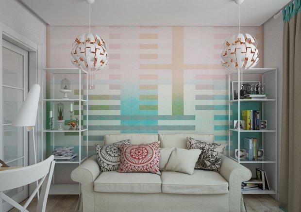 2-1-small-living-room-interior-design-light-laminate-floor-white-walls-yellow-turquoise-accents-IKEA-furniture-geometrical-wallpaper-shelving-units-sofa-carpet-work-area-desk-beige-curtains-pendant-lamps