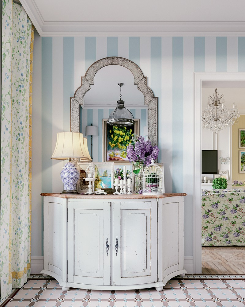 2-2-Provence-style-kitchen-interior-design-vintage-dressing-table-cabinetry-bedside-lamp-lavender-stripy-wallpaper-white-and-blue-floral-curtains-mirror-bird-cage