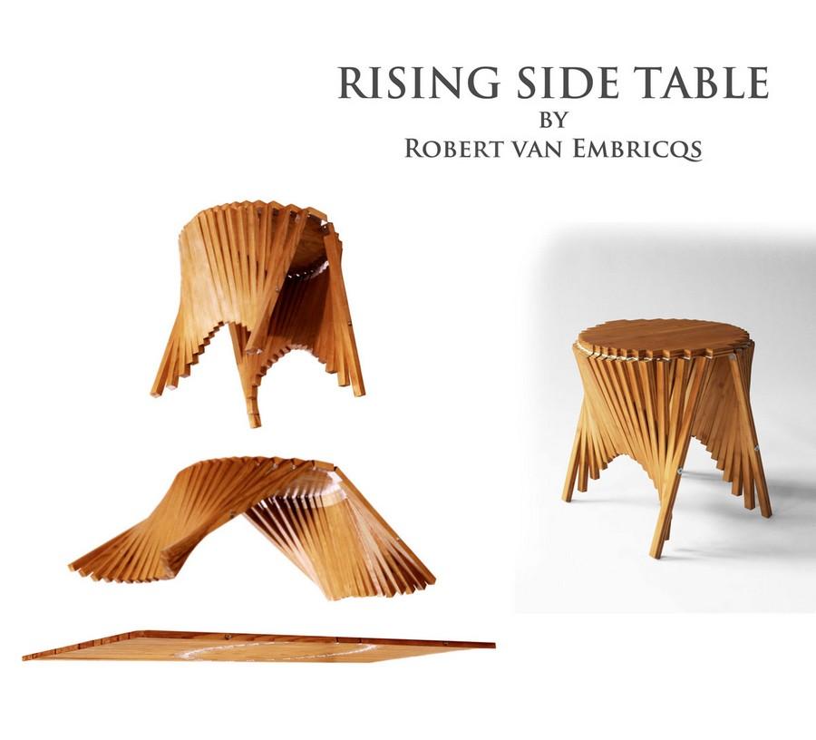 Designer Robert van Embricqs presenting his new creation, the Rising Furniture