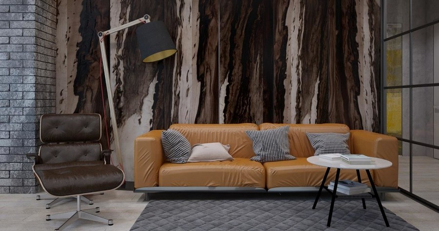 2-2-brutal-contemporary-style-living-room-lounge-interior-design-light-floor-gray-bricks-minimalism-wall-mural-brown-and-white-ochre-sofa-floor-lamp-coffee-table-leather-arm-chair-with-footrest-glass-wall