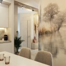 2-2-contemporary-style-interior-design-in-white-beige-gray-dining-room-kitchen-naturalistic-wall-mural-table-chairs-glossy-postformed-backsplash-worktop-concrete