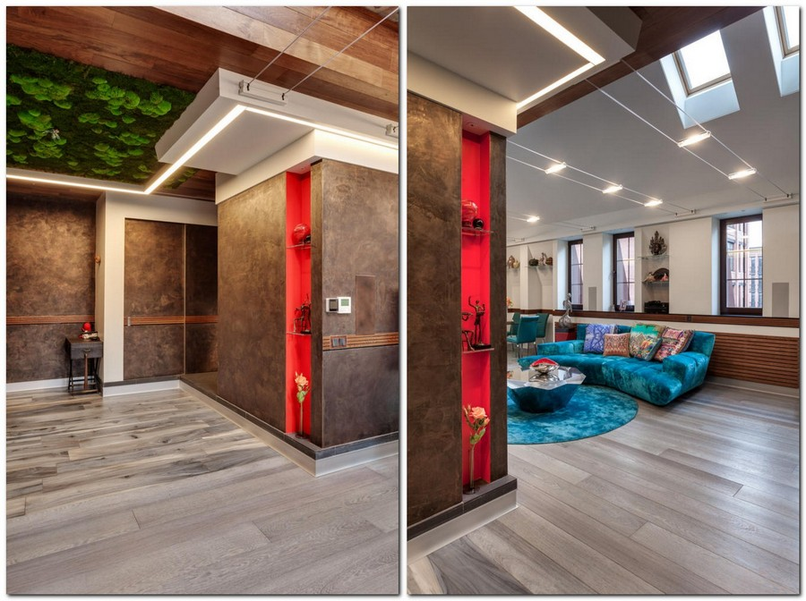 2-2-contemporary-style-interior-design-living-room-lounge-gray-brushed-parquetry-velvet-blue-sofa-round-carpet-coffee-table-LED-lights-recessed-red-shelves-living-moss-ceiling-cable-lights-skylights