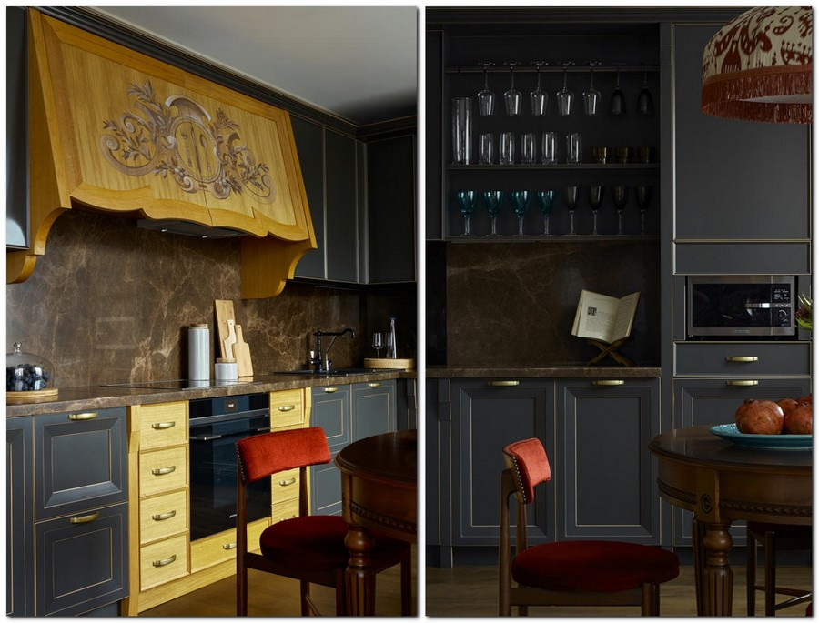 2-2-neo-classical-style-kitchen-dining-room-interior-with-ethnic-motifs-Central-Asian-Uzbek-Portuguese-dark-blue-cabinets-red-chairs-yellow-brass-accents-wooden-cooker-hood-marble-countertop-backsplash-open-bar