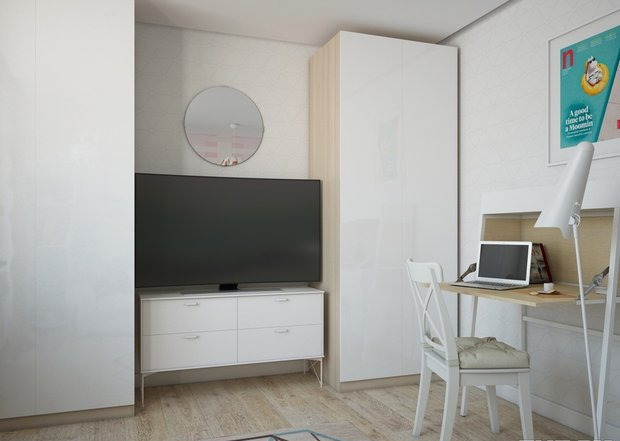 2-2-small-living-room-interior-design-light-laminate-floor-white-walls-yellow-turquoise-accents-IKEA-furniture-work-area-desk-poster-closets-TV-set