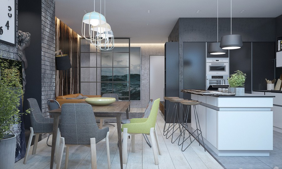 2-3-brutal-contemporary-style-living-dining-room-interior-design-light-floor-gray-concrete-walls-minimalism-mismatched-chairs-table-bricks-glass-wall-white-open-concept-kitchen-set-island