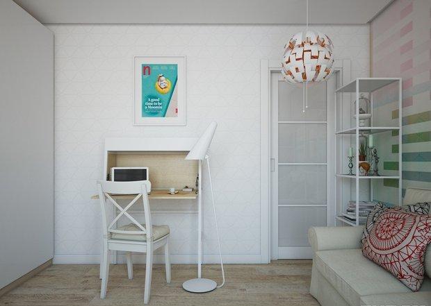 2-3-small-living-room-interior-design-light-laminate-floor-white-walls-yellow-turquoise-accents-IKEA-furniture-geometrical-wallpaper-shelving-unit-sofa-work-area-desk-poster-pendant-lamp