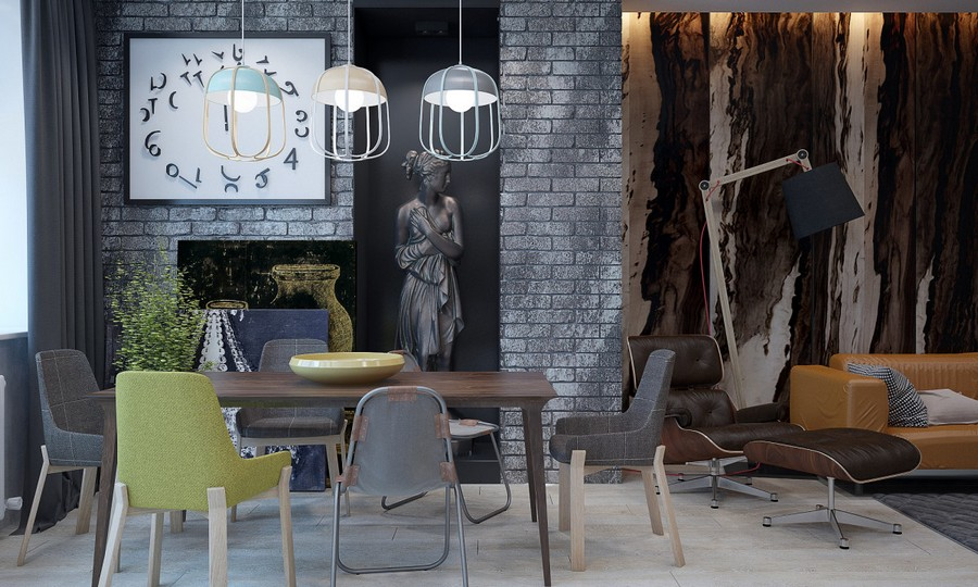 2-4-brutal-contemporary-style-living-dining-room-lounge-interior-design-light-floor-gray-brick-wall-minimalism-black-recess-classical-statue-mismatched-chairs-table-big-clock-wall-mural-floor-lamp-sofa