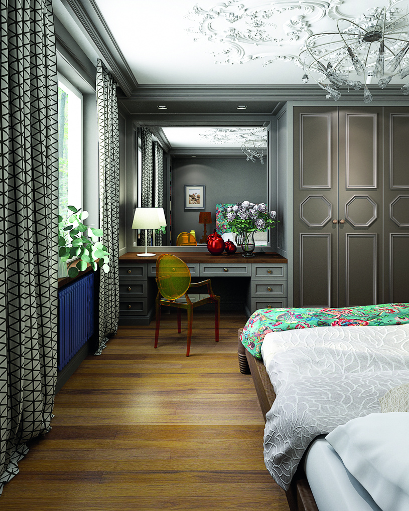 2-contemporary-style-bedroom-interior-design-work-area-dressing-table-transparent-chair-curtains-with-blackout-lining-gray-walls-crown-molding-wardrobe-classical-ceiling-medallion-parquetry-blue-radiator