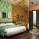 2-contemporary-style-bedroom-living-room-interior-design-perforated-screen-room-divider-green-floral-wallpaper-bedspread-bed-cover-sliding-doors-chandelier-round-metal-coffee-table-geometrical-carpet
