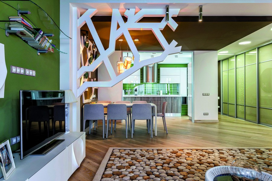 2-contemporary-style-open-concept-living-dining-room-lounge-kitchen-interior-design-plasterboard-sheetrock-3D-wall-decor-green-ceiling-brown-white-set-wool-handmade-carpet-pebbles-TV-set-table-chairs