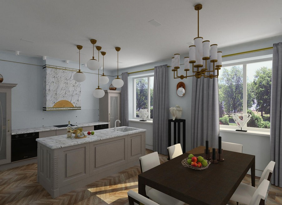 2-gray-blue-contemporary-style-interior-design-art-deco-elements-brown-open-concept-kitchen-dining-room-table-cupboards-island-big-windows-marble-worktop-group-of-lamps