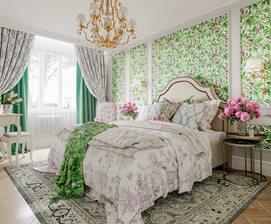 3-1-Provence-style-bedroom-interior-design-white-moldings-floral-motifs-pattern-wallpaper-green-and-rose-accents-flowers-beige-upholstered-bed-draw-curtains-overdrapery-chandelier-carpet