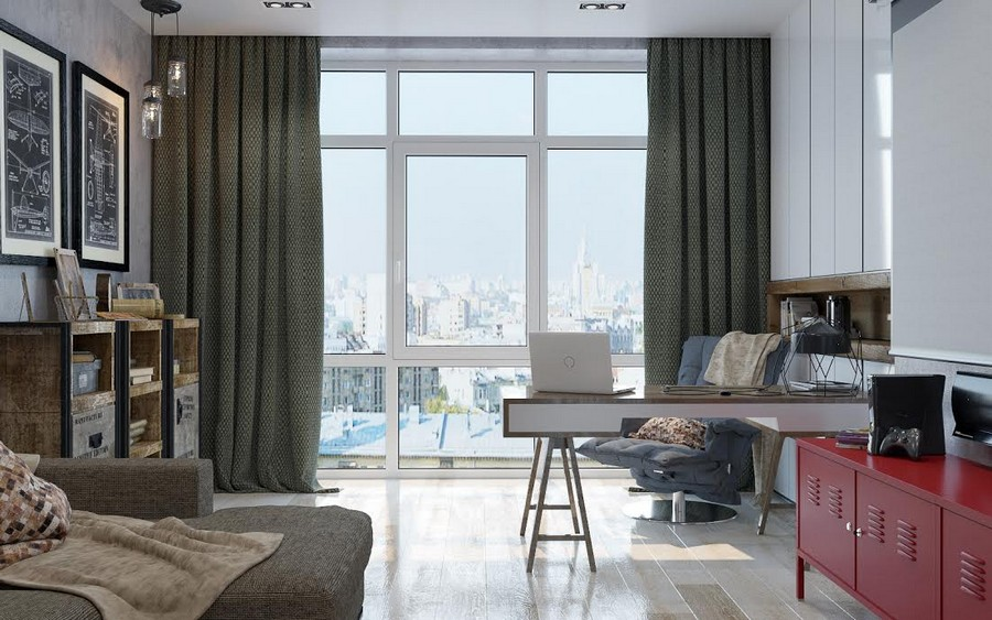 3-1-brutal-contemporary-style-work-room-study-interior-design-light-floor-gray-concrete-walls-minimalism-red-chest-of-drawers-accents-sofa-desk-chair-storage-cabinets-projector-screen-panoramic-window