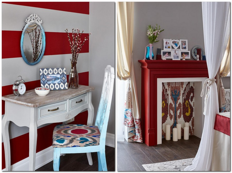 3-1-contemporary-style-bedroom-interior-design-with-oriental-Central-Asian-Uzbek-motifs-ikat-pattern-white-red-gray-blue-accents-pomegranate-faux-fireplace-candles-mosaic-tiles-dressing-table-ombre-effect-chair-mirror