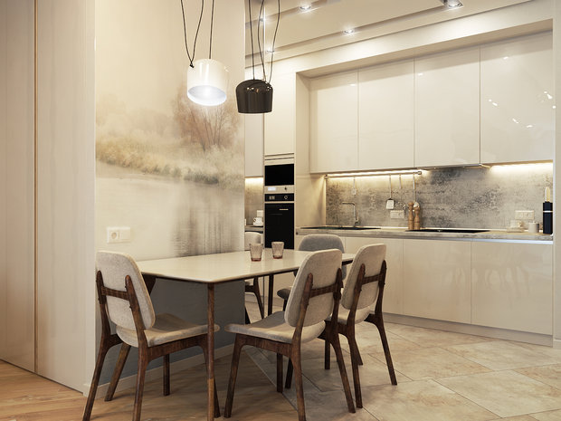 3-1-contemporary-style-interior-design-white-beige-gray-open-concept-dining-kitchen-naturalistic-wall-mural-table-chairs-glossy-postformed-backsplash-worktop