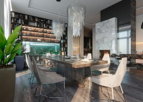 3-1-contemporary-style-open-concept-living-dining-room-kitchen-interior-design-white-walls-panoramic-windows-home-library-chandeliers-fireplace-marble-table-chairs-aquarium