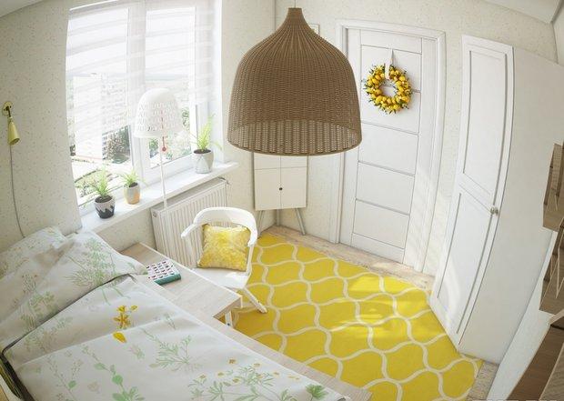 3-1-small-kid's-girl's-room-interior-design-light-laminate-floor-white-walls-yellow-carpet-accents-IKEA-furniture-loft-bed-work-desk-door-wreath-wardrobe-corner-drawing-unit