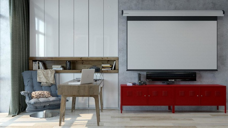 3-2-brutal-contemporary-style-work-room-study-interior-design-light-floor-gray-concrete-walls-minimalism-red-chest-of-drawers-accents-desk-arm-chair-storage-cabinets-projector-screen