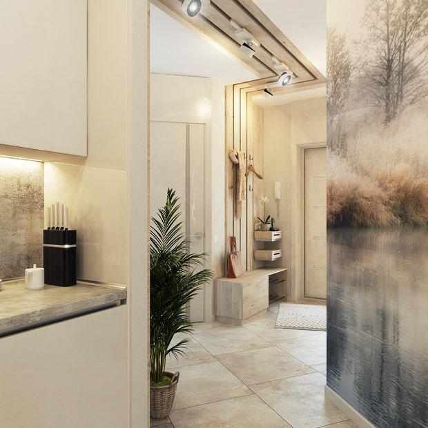 3-2-contemporary-style-interior-design-white-beige-gray-kitchen-naturalistic-wall-mural-glossy-postformed-backsplash-worktop-concrete-texture