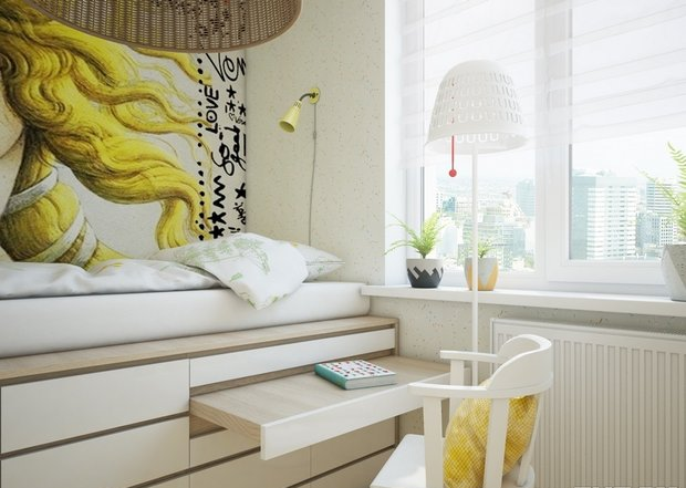 3-2-small-kid's-girl's-room-interior-design-light-white-walls-yellow-accents-loft-bed-work-built-in-drawers-desk-wall-mural