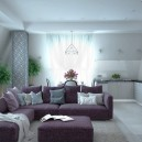 3-3-contemporary-style-open-concept-living-room-dining-table-kitchen-set-interior-design-in-neutral-colors-white-walls-gray-parquet-floor-purple-sofa-lounge-ottoman-geometrical-pattern-on-load-bearing-column