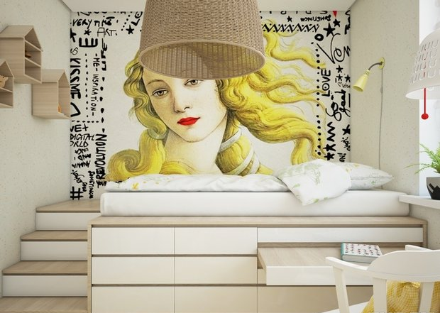 3-3-small-kid's-girl's-room-interior-design-light-laminate-floor-white-walls-yellow-accents-loft-bed-work-desk-built-in-drawers-stairs-lamps-wall-mural