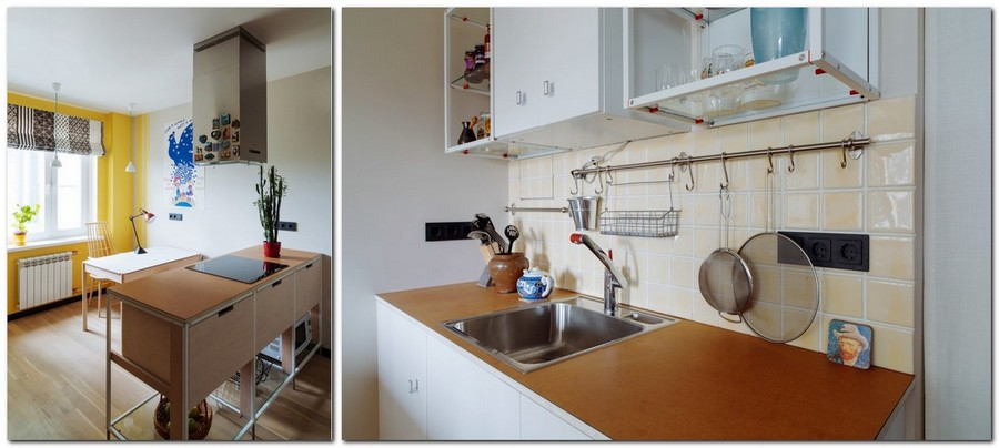 3-bachelor's-interior-design-open-concept-kitchen-island-dining-room-light-blue-walls-yellow-red-accents-beige-backsplash-roman-blinds-black-sockets