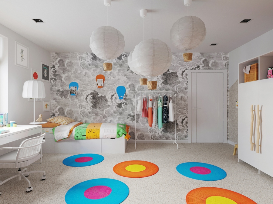 3-kids-children-toddler-room-interior-design-white-and-beige-contemporary-style-with-bright-accents-round-rugs-blue-yellow-orange-balloon-lamps-work-desk-floor-lamp-bed-closet-creative-handles