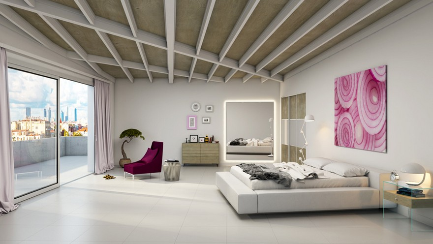 3-new-innovative-smart-home-technologies-2017-in-interior-design-contemporary-style-bedroom-panoramic-window-city-view-light-gray-walls-low-bed-arm-chair-balcony-exit-big-mirror