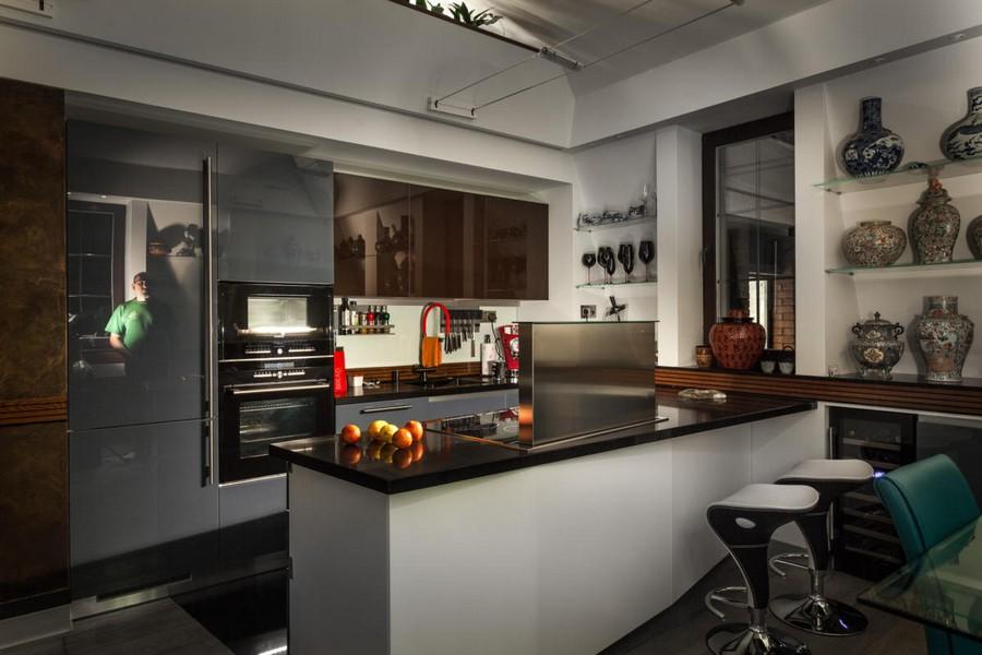 4-1-contemporary-style-interior-design-open-concept-kitchen-minimalist-push-to-open-cabinets-gray-blue-dark-island-oven-bar-stools-recessed-shelves-glassware-display-ceramic-vases