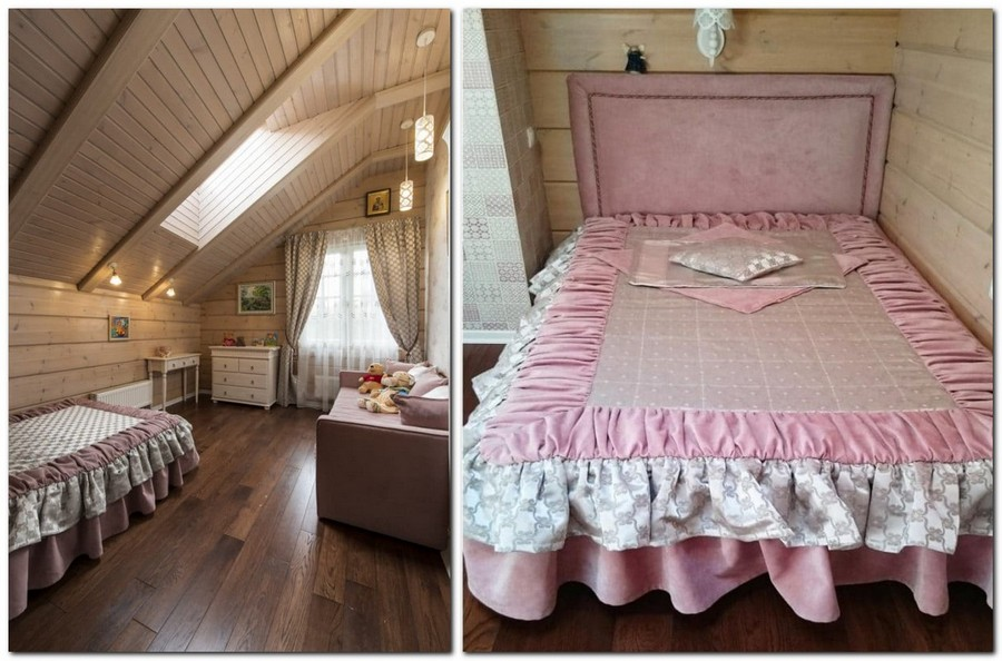 4-1-log-timber-wooden-house-interior-design-walls-sloped-ceiling-skylight-overdrapery-drapery-sheer-curtains-pink-gray-beige-bed-cover-pleats-sofa-chest-of-drawers-throw-pillows-upholstered-bed-kids-toddler-room-bedroom
