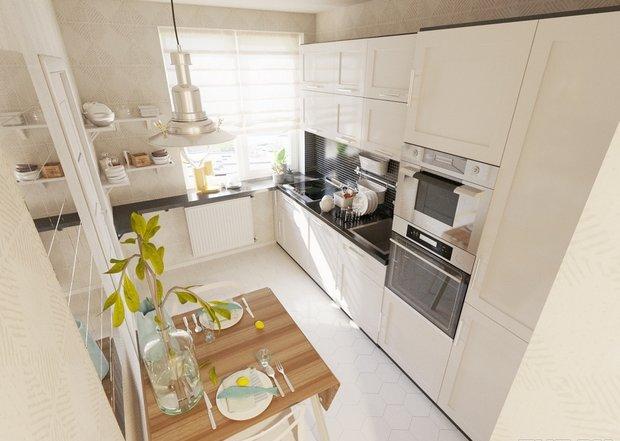 4-1-small-kitchen-dining-room-interior-design-light-floor-beige-walls-set-cabinets-black-worktop-backsplash-small-table-chairs-shelves-mirror-hexagonal-floor-tiles