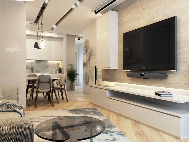 4-2-contemporary-style-interior-design-white-beige-gray-neutral-colors-open-concept-living-dining-room-kitchen-table-chairs-TV