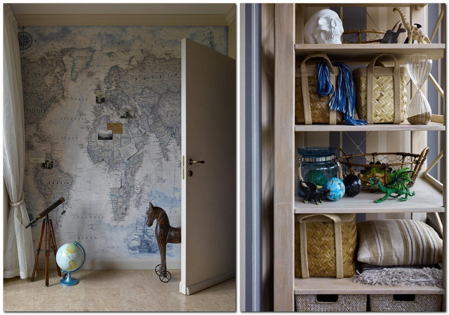 4-2-neo-classical-style-kid's-toddler-boy's-room-bedroom-interior-with-ethnic-motifs-Central-Asian-Uzbek-Portuguese-nautical-magnetic-world-map-wall-mural-shelves-decor-globe-rocking-horse