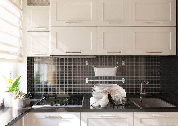 4-4-small-kitchen-interior-design-beige-set-cabinets-black-worktop-backsplash-window-roman-blinds