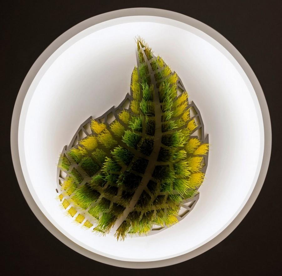 4-Sous-le-grand-arbre-racine-feuille-et-fleur-by-Elisabeth-Picard-CHSLD-Canada-tree-leaf-art-installation-ceiling-decor-gradient-ombre-effect-plastic-aluminum-LED-lights-green-yellow