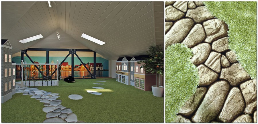 4-attic-floor-toddler-kids-room-playroom-game-room-interior-design-gray-walls-play-houses-paths-green-shaggy-carpet-bench-toys-stereo-vario-wall-mural-skylights-sloped-ceiling